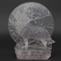 Статуя волка под луной натуральный драгоценный камень флюорит кристалл исцеления Рейки Декор 5,1