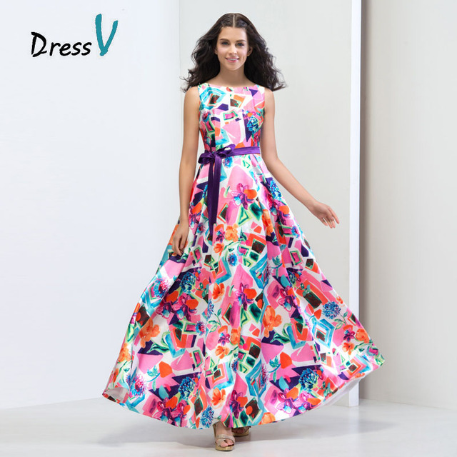 Bohemian Style Printed Long Backless Prom Dresses 2016 Boat Neck A