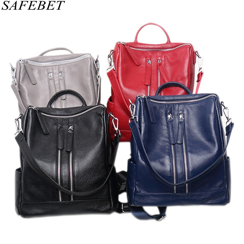 SAFEBET Travel-Backpack Big-Capacity Waterproof Fashion Women 100%Genuine-Leather Brand