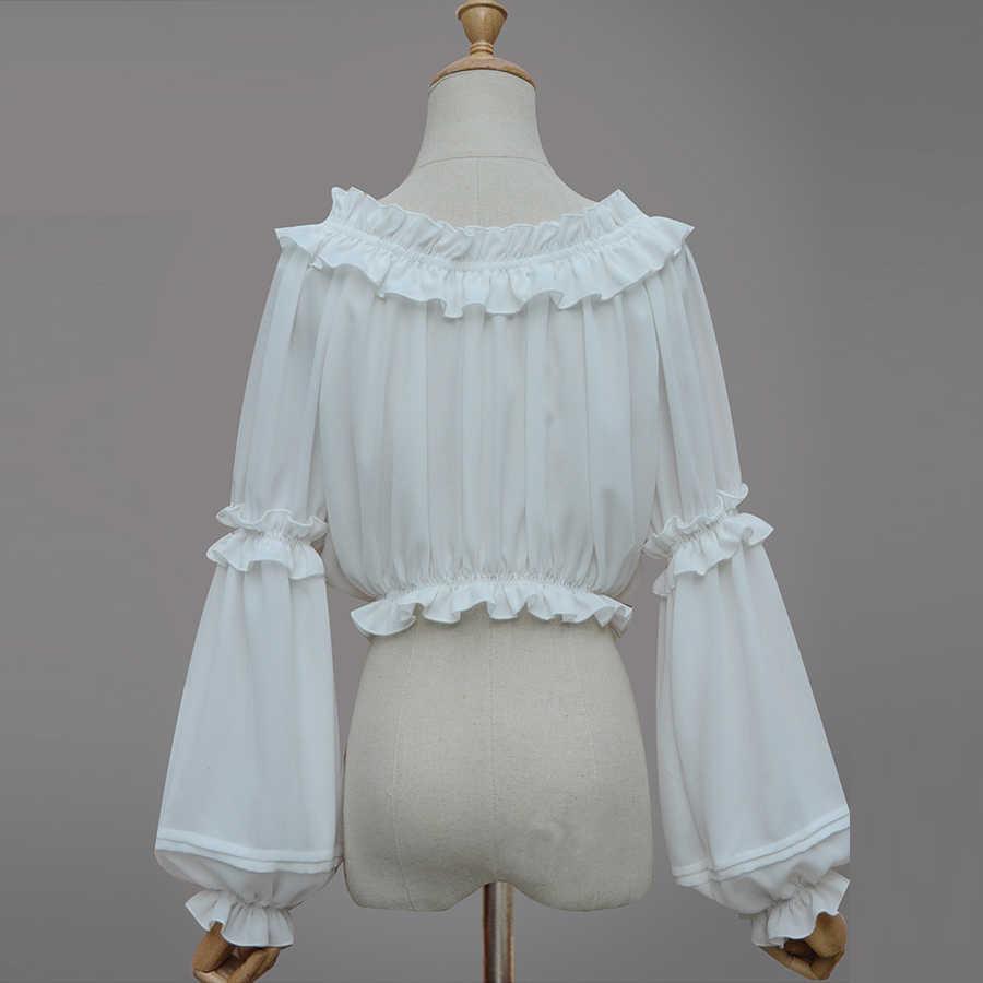 春夏女性シフォンショートロリータシャツゴシックビクトリア朝のブラウス女の子カジュアル底入れシャツ白黒ストラップレストップス