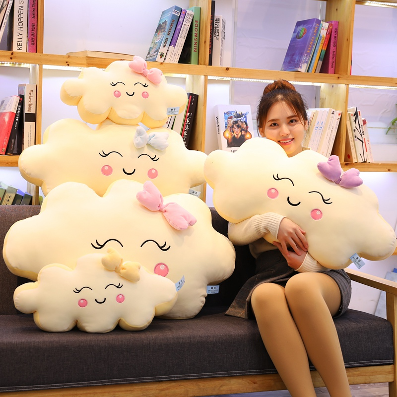 Giant New Style Kawaii Cloud Plush Pillow Soft Cushion Lovey Smile Cloud Stuffed Plush Toys For Children Baby Kids Girl Gift