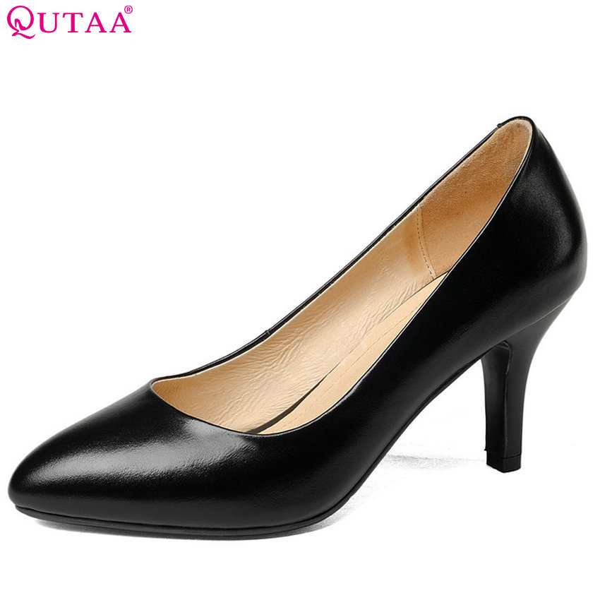 QUTAA 2018 Women Pumps Thin High Heel Fashion Westrn Stlye Genuine Leather +pu Women Shoes Platform Women Pumps Szie 33-42 fashion women s pumps with engraving and pu leather design