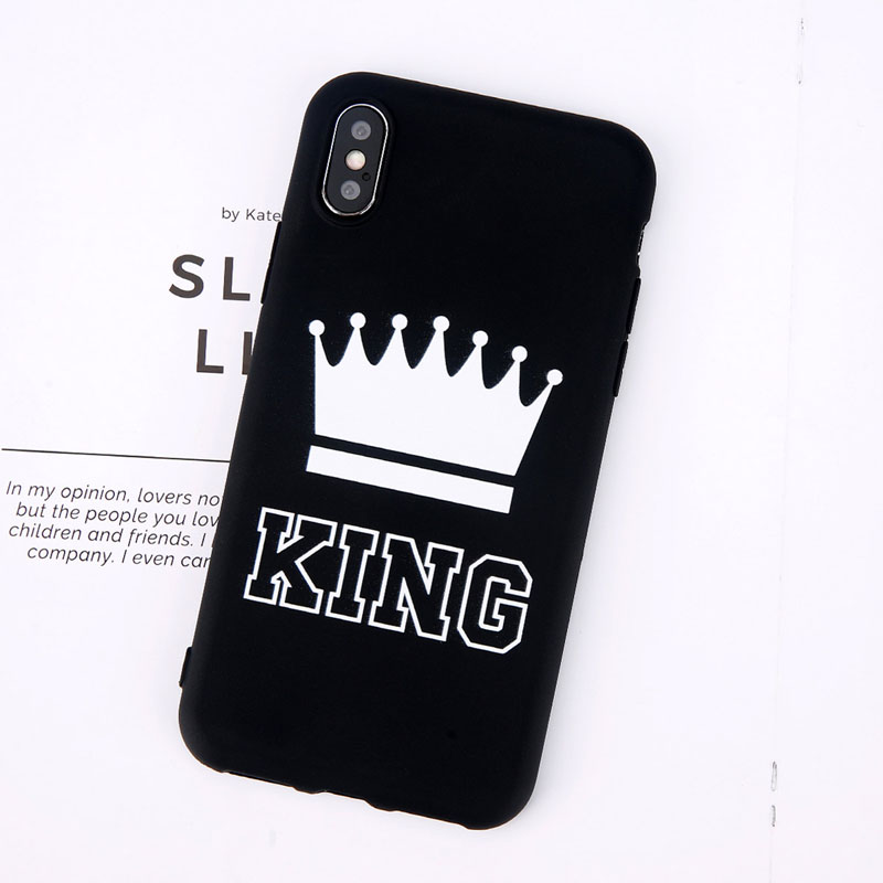 King Queen Crown Phone Case For iphone XR XS Max X 8 7 6 6s Plus Case Fashion Stylish Soft TPU Cover For iphone 5 5s SE Silicon (3)