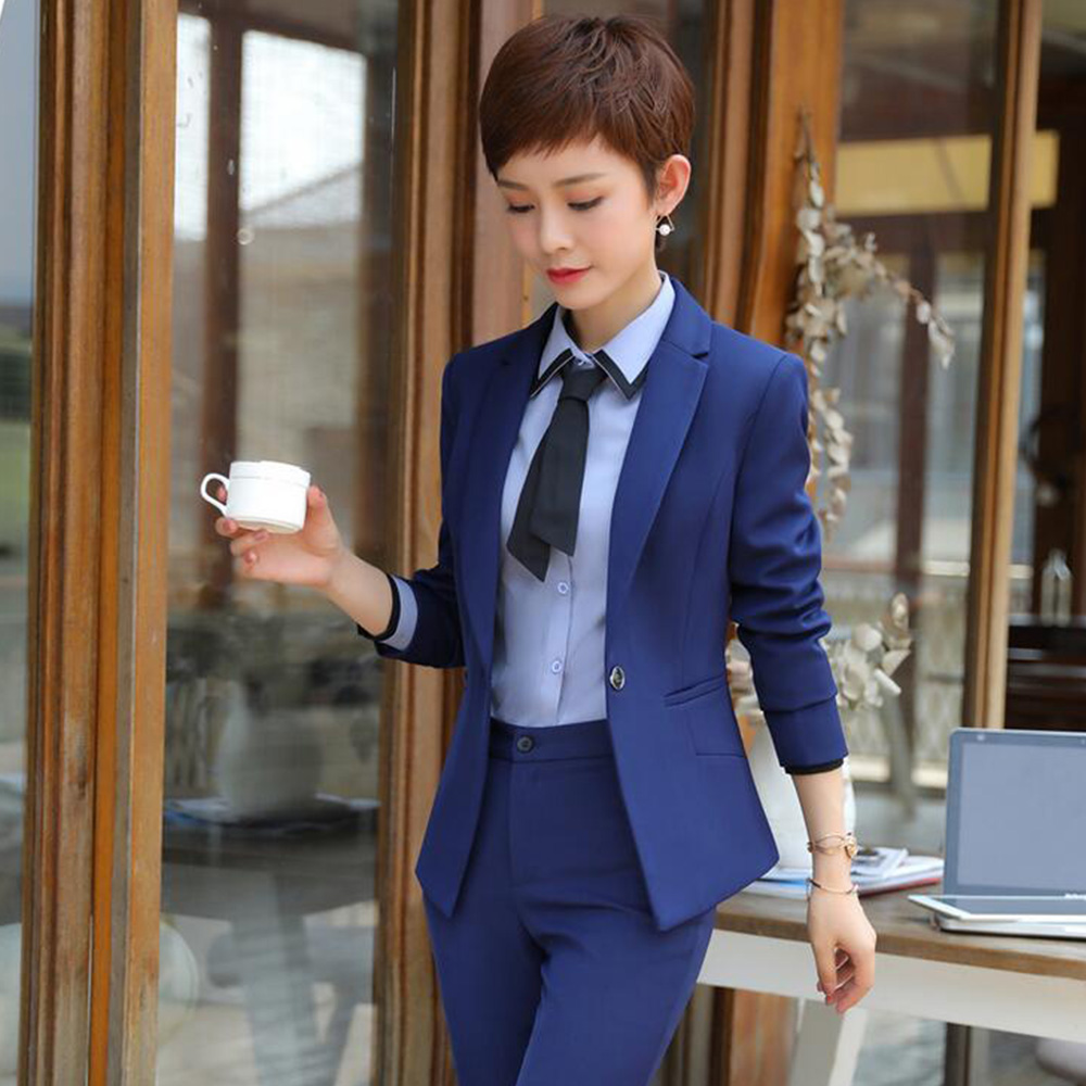 671f75208b6 Winter fashion business women pants suits formal long sleeve Double slim  Breasted blazer and trousers office ...
