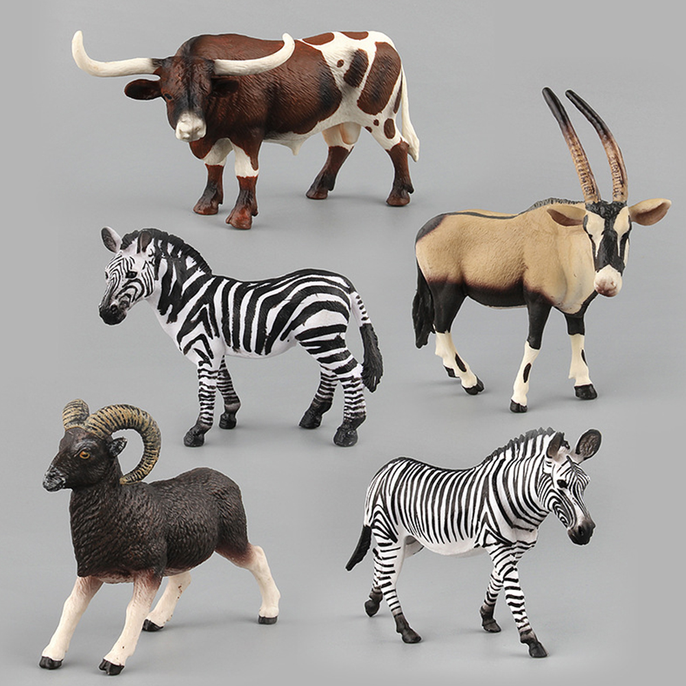Animals Model Toys For Children Kids Zebras Sheep Rhinos Simulation Action Figures Plastic Animal Figurine Educational Toys Gift