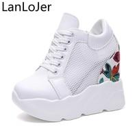 LanLoJer 12CM Women Casual Shoes Summer Fashion Lace Up Hidden High Heel Wedge Platform Shoes 2018 Leisure Girls Woman Sneakers