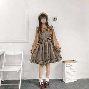 Image 4 - Herbst Frühling Frauen Vintage Kleid Japanischen Stil Ärmelloses Plaid Kleid Harajuku College Studenten Nette Kawaii Lolita Kleid