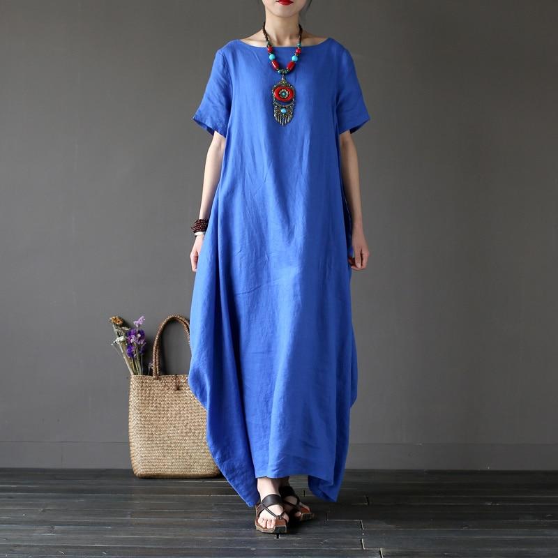 Johnature Women Dress 3 Color O Neck Short Sleeve Cotton Linen Robes 2019 Summer New Loose