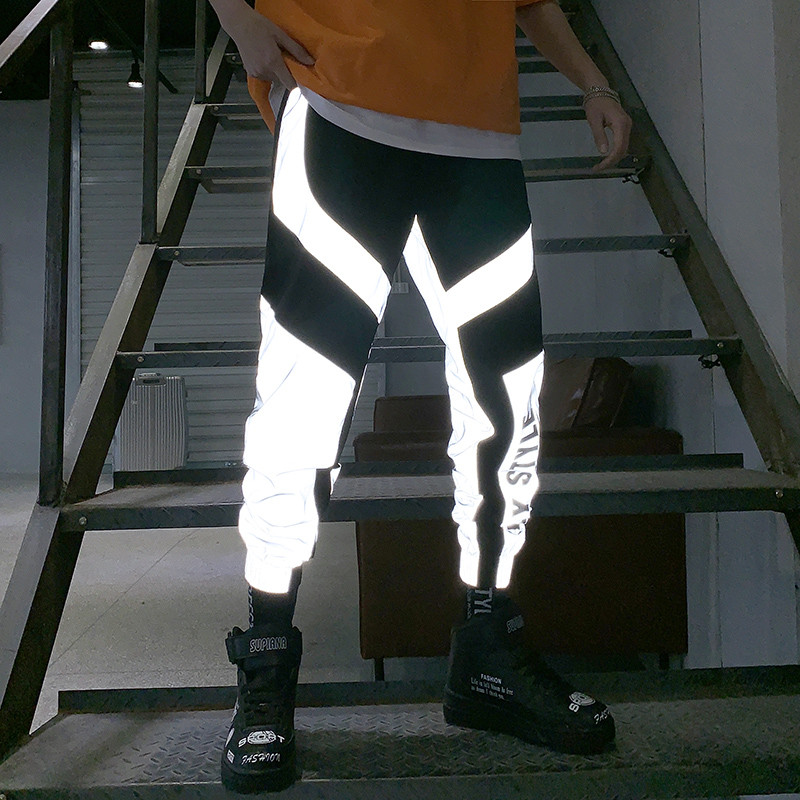 Riinr Reflective-Pants Joggers Sweatpant Flash Baggy Trousers Hip-Hop Dance-Show Women