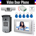 "7"" Color Screen Video Door Phone Intercom System RFID ID Access Control Camera Electric Strike Lock + Power Supply+ Door Exit"