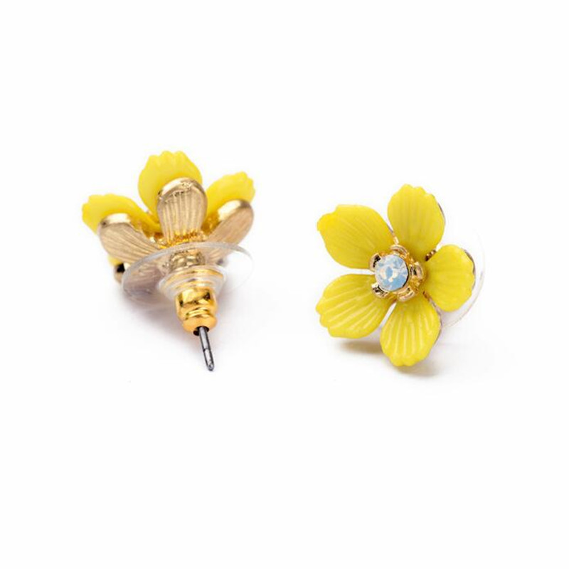 Aliexpress buy summer style cute yellow flower stud earrings aliexpress buy summer style cute yellow flower stud earrings for women party jewelry romantic design lovely crystal earring hot sale from reliable mightylinksfo