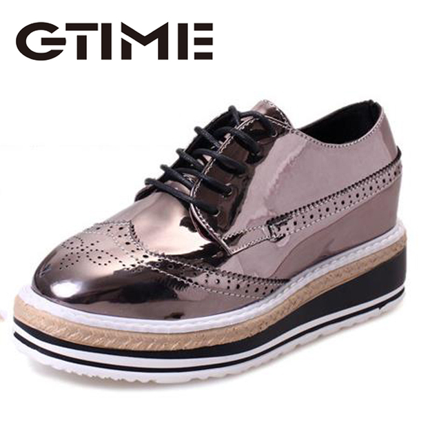 2017 Platform Oxford Shoes Woman Pink Silver Creepers Bling Lace-Up Casual Oxfords Women Brogue Shoes 3 Colors # ZH5