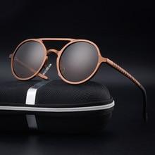 CHUN High quality men's aluminum magnesium round Polarized Sunglasses lunette de soleil homme round sunglasses men + Case Y14
