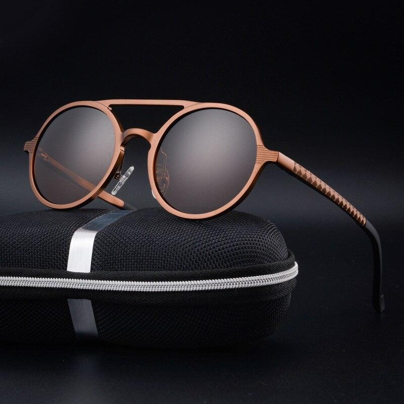 354f0aed00425 CHUN de los hombres de alta calidad de aluminio y magnesio de ronda de gafas  de sol polarizadas lunette de soleil homme ronda gafas de sol hombres + Y14