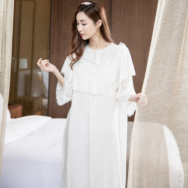 Autumn Princess lace Women Nightgown sweet sexy Korean style sleepwear  cotton Long Nightdress three quarter Sleeve Home Clothing f848ba5cb