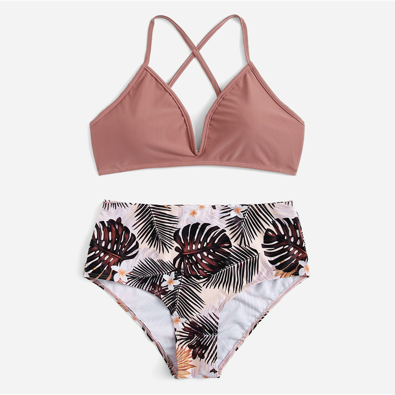 Criss Cross Top With Tropical Bottoms Bikinis Set 9