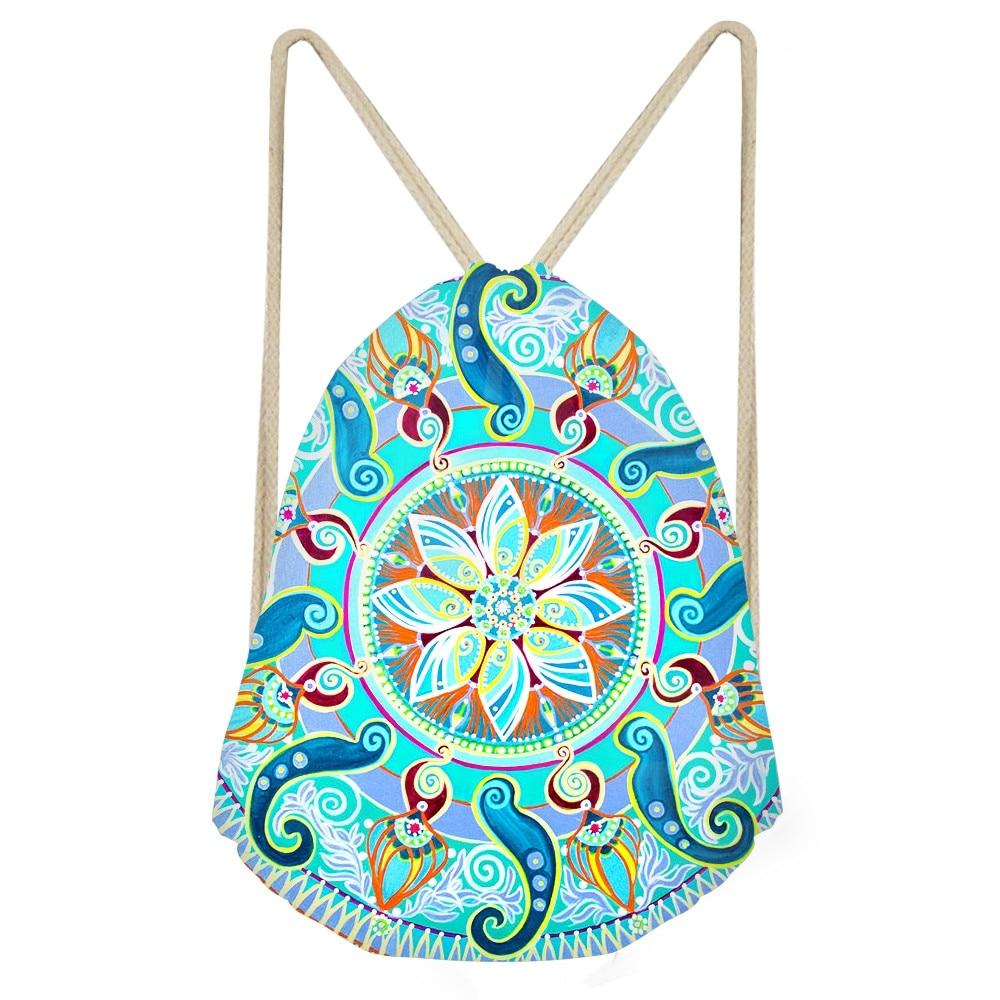 Fashion Woman Drawstrings Bags Pretty Indian Mandala Print Female Backpacks Casual Softback Beach Storage Sack BagsSumka
