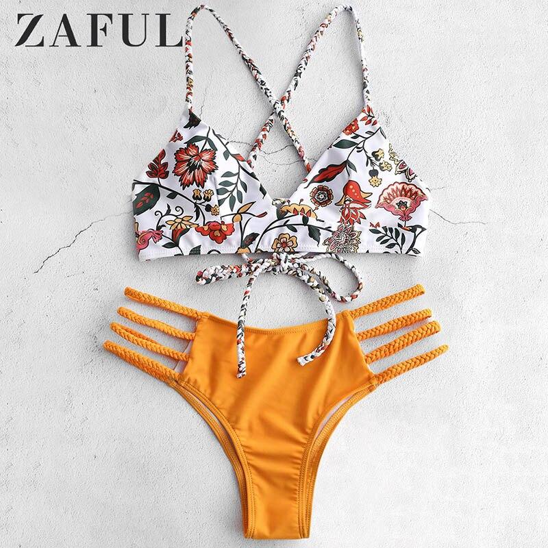 ZAFUL taille basse vacances croisé Bikini ensemble soutien-gorge à lacets et slips Sexy élastique fil libre maillots de bain fleur tressé rembourré