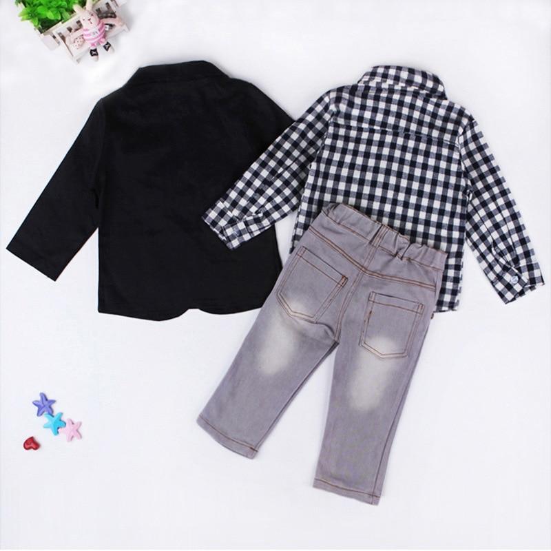 3b65c61908ea Gentleman Style Kids Boy Clothes Jacket+Shirt+Jeans 3pcs set Toddler ...