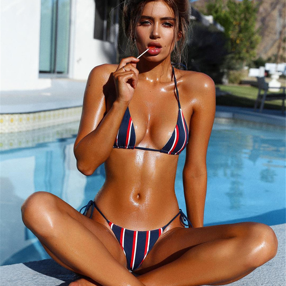 <font><b>2018</b></font> <font><b>Sexy</b></font> Blue and red strap Biquini Halter Knit Swim Wear Bathing Suit <font><b>Swimsuit</b></font> Beachwear Swimwear <font><b>Women</b></font> Bikini image