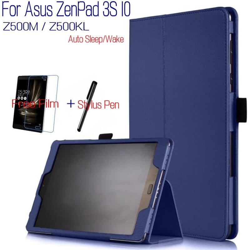 Stand Intelligent PU Couverture En Cuir Funda Case pour Asus ZenPad 3 S 10 Z500M LTE Z500KL 9.7 pouce Tablet + Protecteur D'écran Gratuit + Stylet stylo