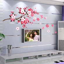Beautiful sakura wall stickers living bedroom decorations