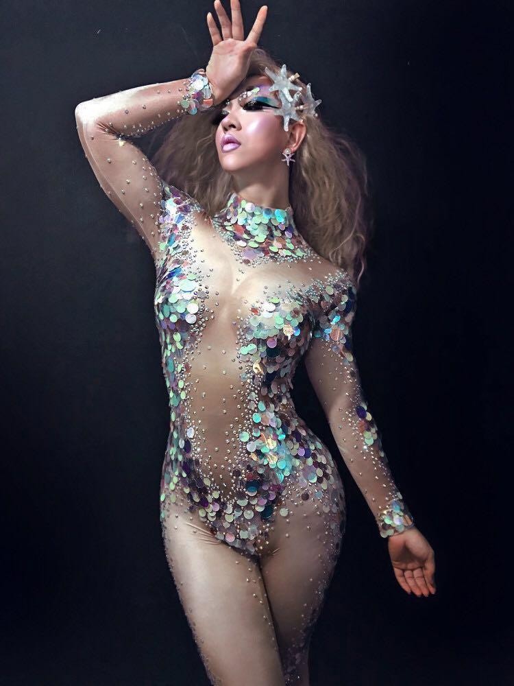 Mermaid Big Sequins Bodysuit Sexy Leggings Crystals Jumpsuit Party Costume Stage Performance Rhinestones Big Stretch Rompers