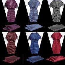 Brand New Luxury Blue Jacquard Weave Tie Set 7.5 cm Anchor Necktie Gravata Pocket Square Handkerchief Bowtie Suit for Wedding