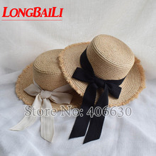 Summer Fashion Flat Top Raffia Straw Sun Hat For Women Casual Beach Caps Free Shipping SWDS040