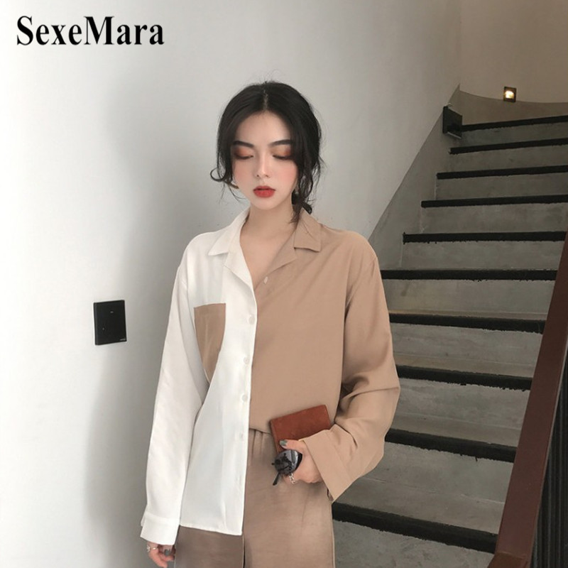 2019 Spring New Simple And Refreshing Color Matching Loose Thin Shirt Stitching Contrast Color Pockets Wild Long-Sleeved Shirt