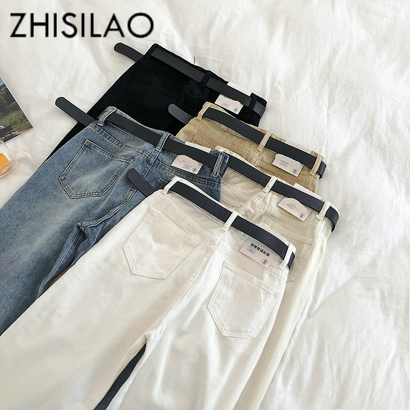 Straight   Jeans   Women Solid Vintage   Jeans   Sashes Casual High Waist   Jeans   Plus Size Mom Boyfriends   Jeans   2019 Denim Pants White