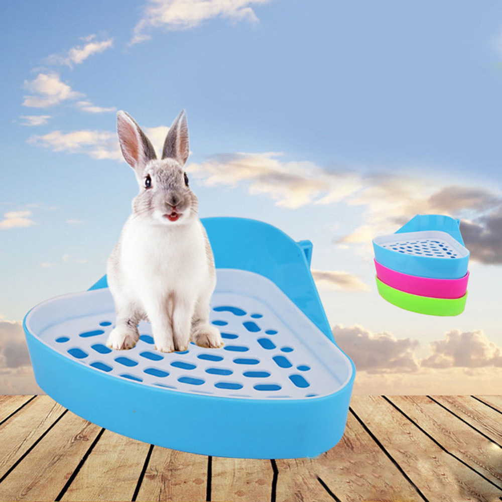 Dog Cavy Rabbit Puppy Plastic Potty Training  Pet Toilet Small Animal Litter Tray Corner For Hamster Pig Cat Rabbit Pee