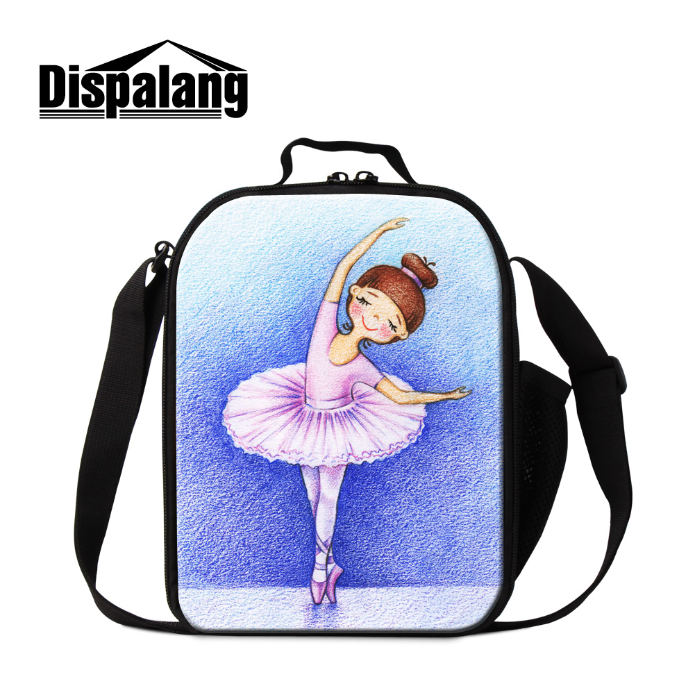Dispalang cute ballet dancing girl print lunch bags for women brand insulated cooler bags for kids portable picnic food bags box