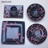 Venta Directa Jingdezhen de cerámica mate de cerezo vajilla de cerámica de sushi postre de jugo de mostaza vajilla Fuentes y platos     -