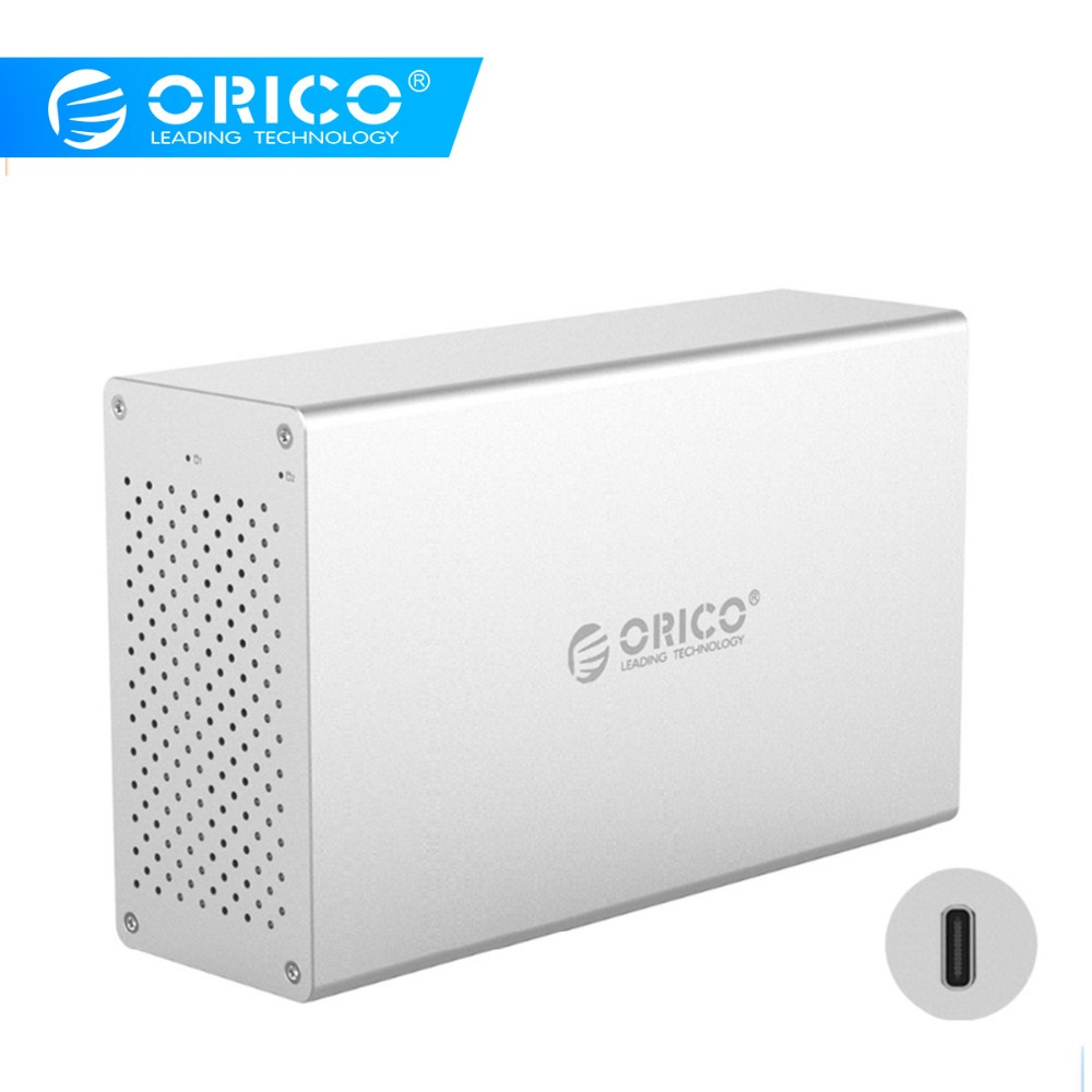 ORICO 2 Bay Type-C Hard Drive Enclosure Support Raid0/1/JBOD 20TB Aluminum 5Gbps With 12V Power Adapter USBC HDD Docking Station