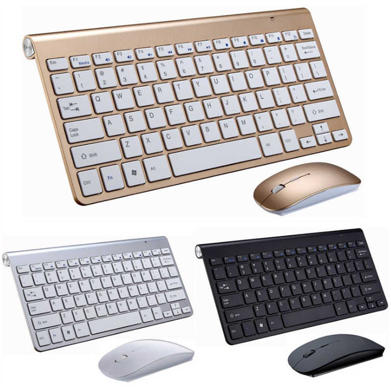 2.4G Wireless Keyboard dan Mouse Mini Multimedia Keyboard Mouse Combo Set untuk Notebook Laptop Mac Desktop PC TV Kantor perlengkapan