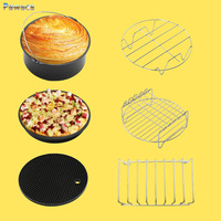 7 Inch Air Frying Pan Accessories Six Piece Fryer Baking Basket Pizza Plate Grill Pot Mat Multi-functional Kitchen Accessory Hot