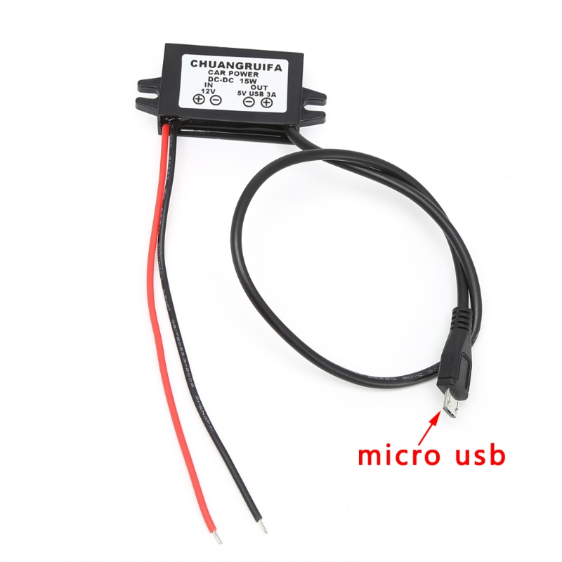 <font><b>Car</b></font> Charge <font><b>DC</b></font> <font><b>Converter</b></font> Module <font><b>12V</b></font> <font><b>To</b></font> <font><b>5V</b></font> Micro USB Output <font><b>Power</b></font> <font><b>Adapter</b></font> <font><b>3A</b></font> 15W image