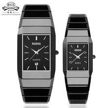Роскошные керамические квадратные часы для женщин мужские комплект часов Черные Мужские Женские кварцевые наручные часы водонепроницаемые женские мужские часы
