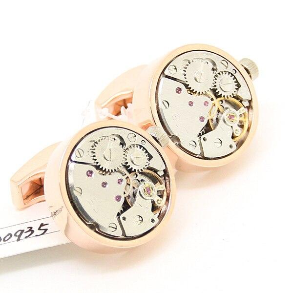 Steampunk Rose Gold Round Vintage Clockwork Watch Silver Movement Cuff Links 800935