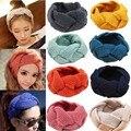 Moda Feminina Crochet Torção Malha Cabeça envoltório Headband Ear Winter Warmer Braid Faixa de Cabelo Macio