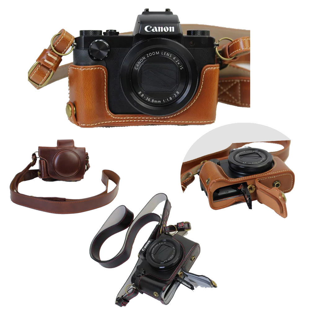New Luxury PU Leather Camera Case Video font b Bag b font For Canon PowerShot G5X