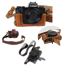 New Luxury PU Leather Camera Case Video Bag For Canon PowerShot G5X Digital Camera Bag With Strap Open battery design