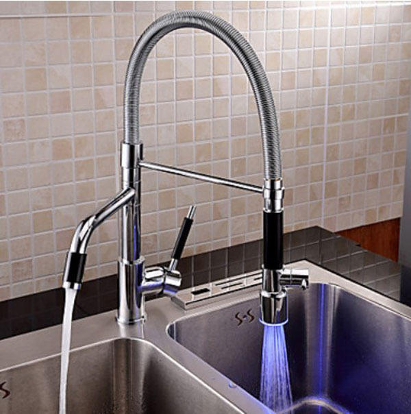 Contemporary Chrome Finish LED Rotatable Tall Kitchen Faucet Pull - Tall kitchen faucets