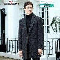 Seven7 бренд Для Мужчин's Шерстяные пиджаки зима длинный плащ кашемировый пиджак тонкий мужской черная куртка шерстяное пальто Для мужчин S пал