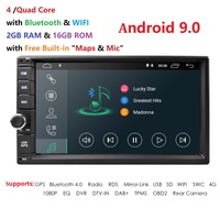 2 Din 7'' Quad core Universal Android 9.0 2GB RAM Car Radio Stereo GPS Navigation WiFi 1024*600 Touch Screen 2din Car multimedia