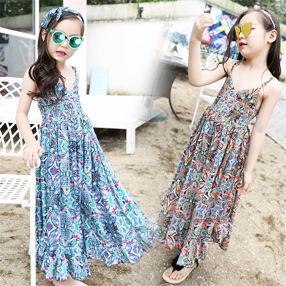 Fashion Floral Print Teen Dress Wide Leg Pants Girls Sling Dresses Summer Bohemian Style Kids