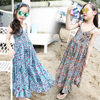 Fashion Floral Print Teen Dress Wide Leg Pants Girls Sling Dresses Summer Bohemian Style Kids Clothes