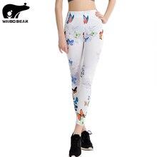 Boho 2017 Women Brand Sportwear Leggins Butterfly Print Fitness Stretch Slim leggings Fashion Novelty Female Bottoms WAIBO BEAR
