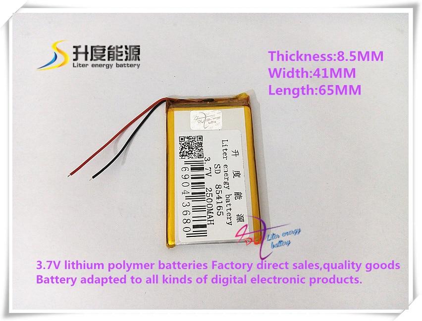 Computer & Büro 3,7 V 2500 Mah 854165 Polymer Lithium-ionen Batterie Li-ion Batterie Für Tablet Pc Power Bank Handy Lautsprecher Produkte HeißEr Verkauf